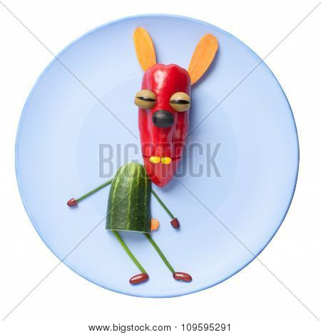 Vegetable Rabbit On Blue Plate On Isolated Background