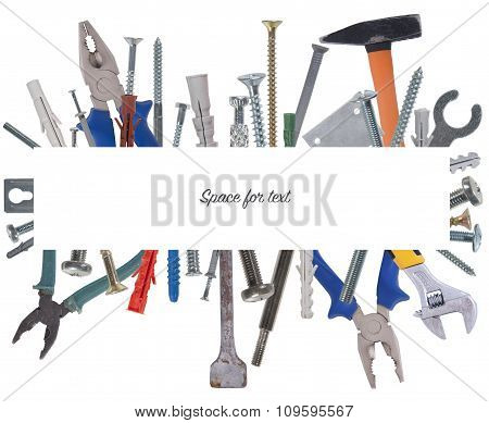 Collage Of Various Construction Tools With Space For Text..