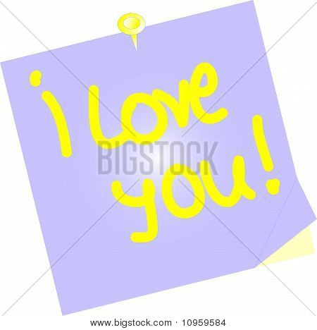 i love you yellow paper note