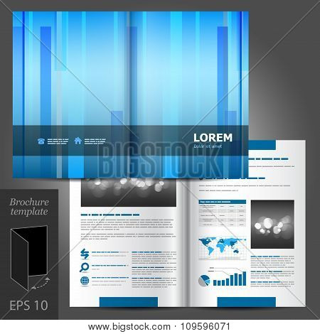 Brochure Template Design With Vertical Lines
