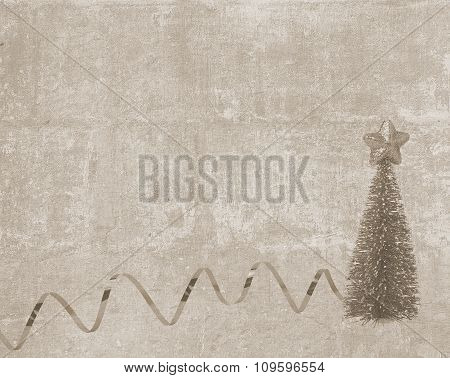 Vintage Postcard With Christmas Tree