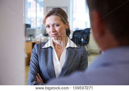 Businessman Harassing Female Colleague