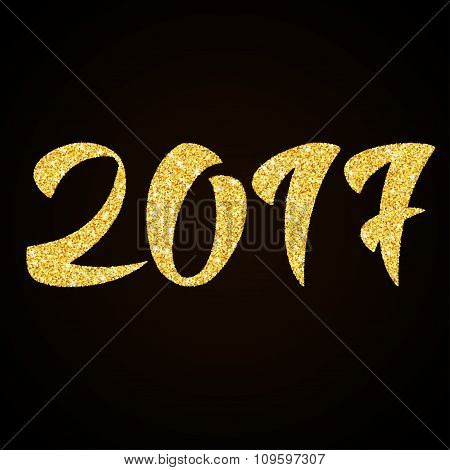 Happy New Year 2017  - gold glitter hand lettering on black background