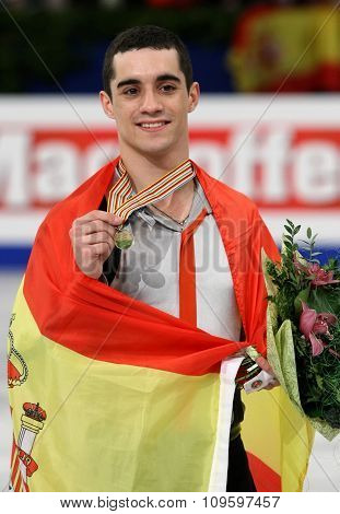 Javier Fernandez (esp) Poses With Gold Medal