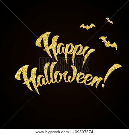 Happy Halloween gold glitter hand lettering on black background