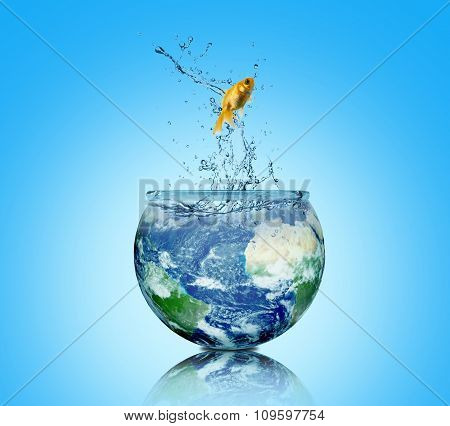 Abstract Background, Concept Of World. Earth And Fish