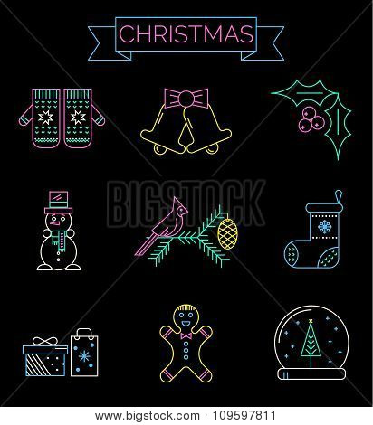 Christmas colorful icons