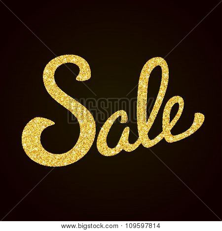 Sale gold glitter hand lettering on black background