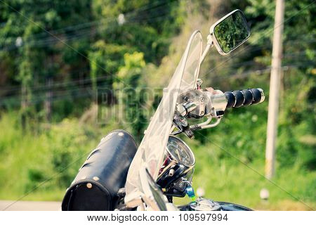 Motorcycle chopper Handlebars on the road
