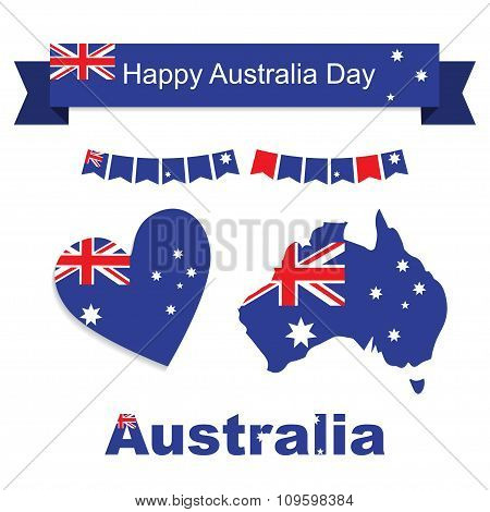 Australia flag, banner and heart icon patterns set illustration