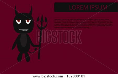 Black Devil With Trident On Red Backgorund With Space For Text, Eps10