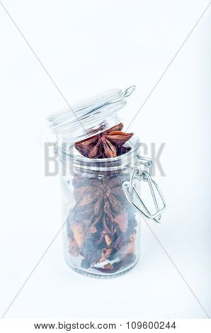 star anise in a jar of glass