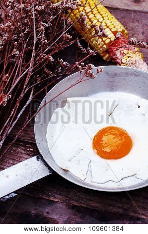 Fried eggs in a frying pan on wooden background. Breakfast. Healthy food. Fried eggs. Fried egg on a