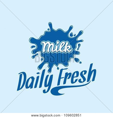 Milk Icon. Milk, Yogurt Or Cream Blot. Milk Logo Template