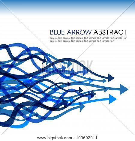 Blue arrow line curve sharp vector abstract background
