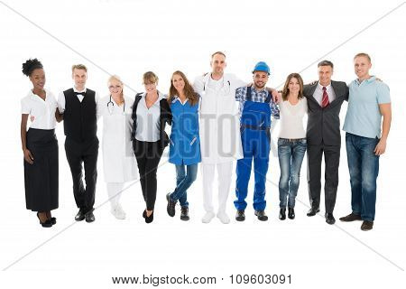 People With Various Occupations Standing Together