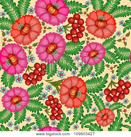 illustration seamless background painted with flowers and berries