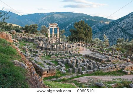 Ruins Of An Ancient Greek Temple Of Apollo At Delphi, Greece