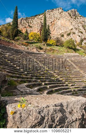 Ruins Of An Ancient Greek Theatre At Delphi, Greece