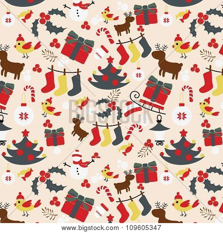 Seamless Christmas traditional pattern. New Year holiday
