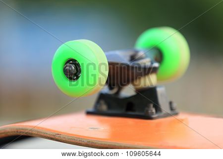 closeup of skateboard wheels