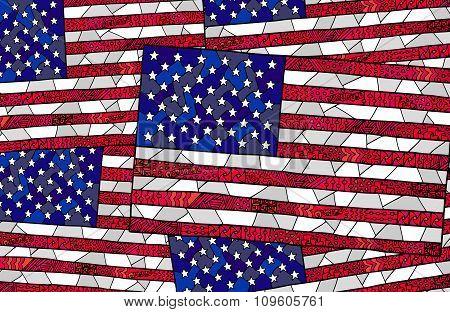 United States Flag Zentangle Background 2