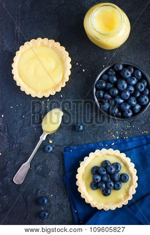 Tart With Lemon Curd And Fresh Blueberry