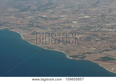 A view from the airplane. Cyprus island.