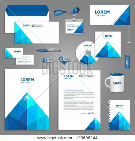 Template Design With Blue Pyramid
