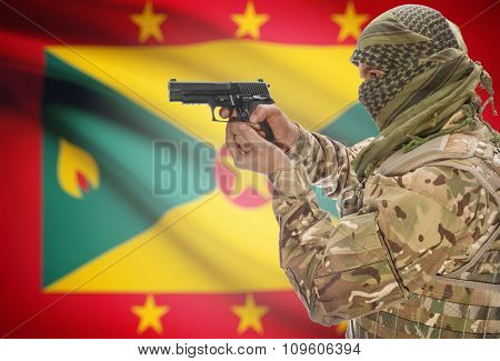 Male In Muslim Keffiyeh With Gun In Hand And National Flag On Background - Grenada
