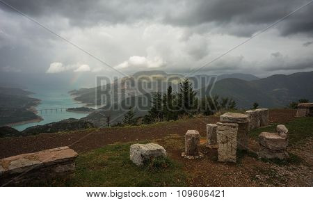 Scenic View From The Mountain To The Lake