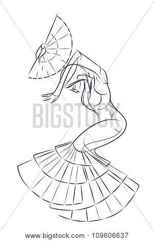ink sketch gesture drawing of dancer