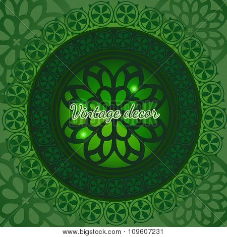 Ethnic decorative pattern in green