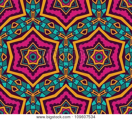 Abstract Tribal  ethnic star mosaic pattern