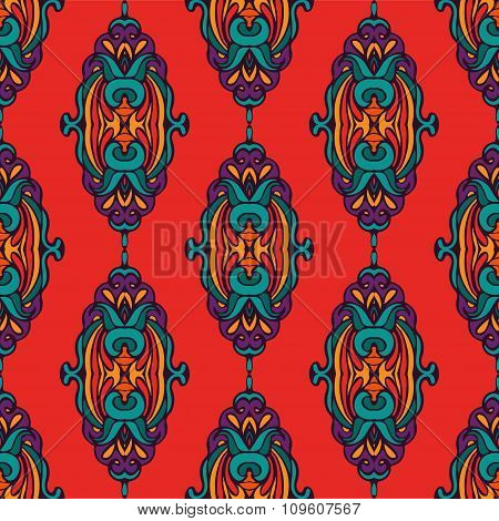 Damask vector colorful abstract seamless pattern