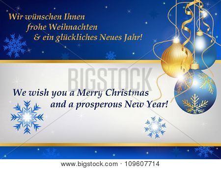 New year greeting card in German and English