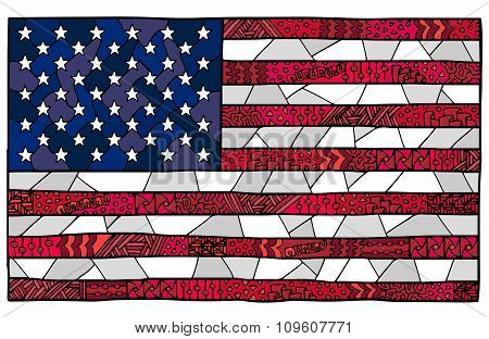 United States Flag Zentangle Red Blue White 1