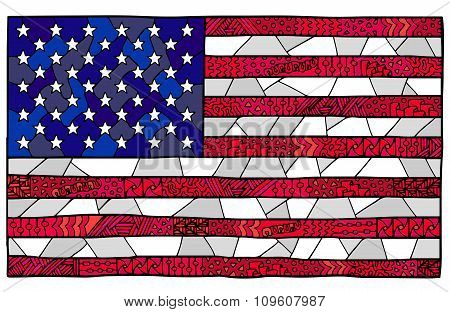 United States Flag Zentangle Red Blue White 2