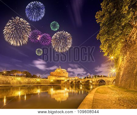 Beautiful fireworks under Castle and bridge of Holy Angel