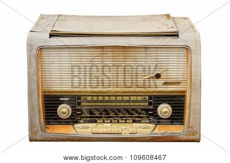 Old Weathered Wooden Radio