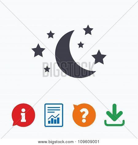 Moon and stars sign icon. Sleep dreams symbol.