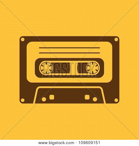 The tape icon. Cassette symbol. Flat
