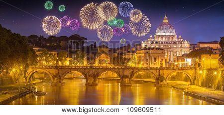 Beautiful fireworks under Vatican, Rome