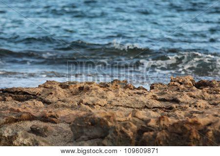 Beautiful beach in Ayia Napa, Cyprus island. Macro.