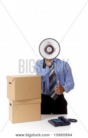 Megaphone, Young African American Businessman