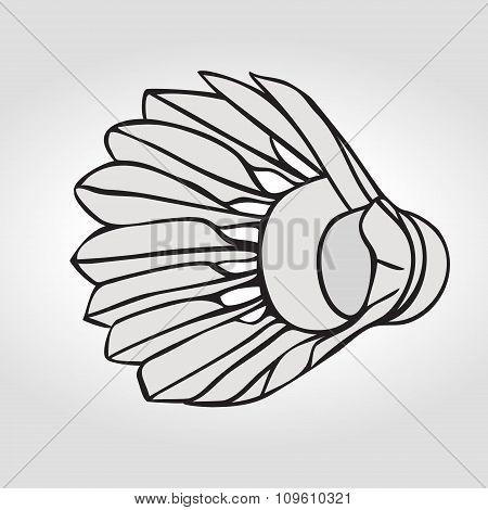 Badminton shuttlecock or badminton ball. Vector clip art