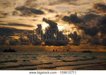 Sunset in Boracay Beach, Philippines
