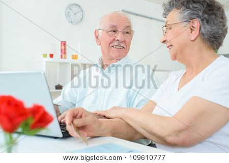 elderly couple in the house