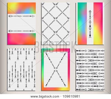 Arrows Set Hipster Rainbow Cards 2