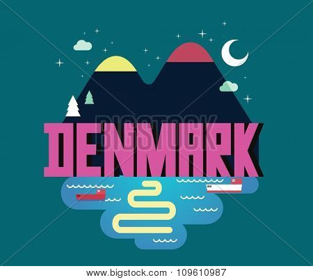 Denmark in scandinavia is a beautiful country to visit. vintage vector illustration.